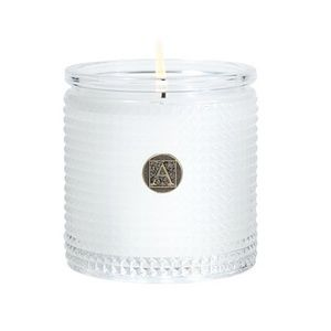 Two Aromatique White Teak & Moss Glass Candles